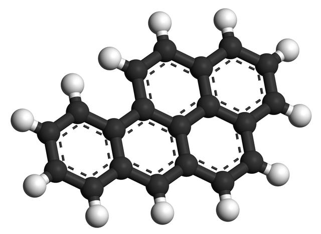 Benso[a]pyren, ett av de huvudsakliga cancerframkallande ämnena i tobaksrök.