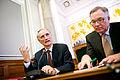 Bertel Haarder, undervisnings- och samarbetsminister Danmark och Fritz H. Schur styrelseordforande i i SAS och Posten Norden vid lanseringen av Nordiska ministerradets ordforandeskapsprogram.jpg