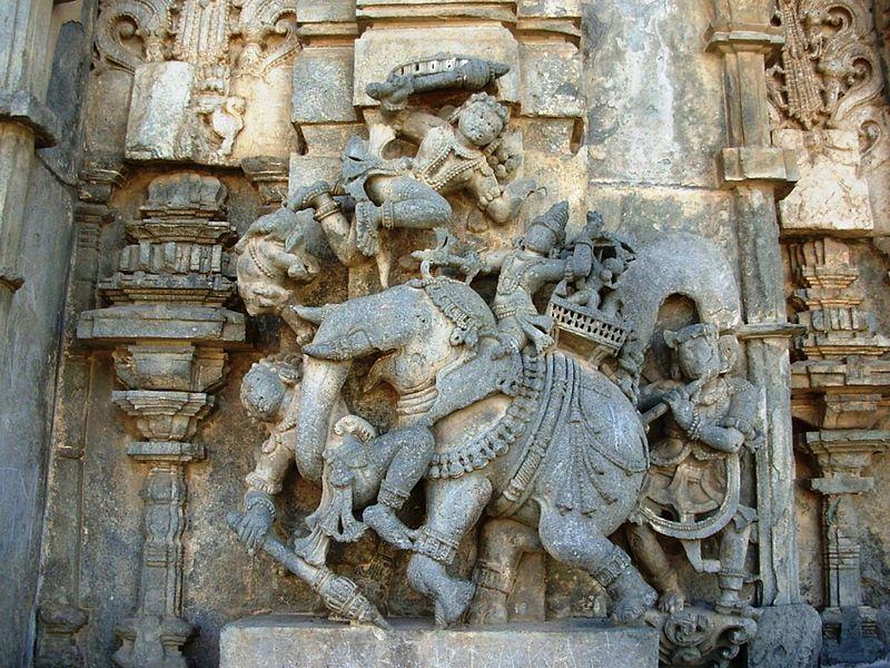 A sculpture at the Chennakesava Temple, Belur.