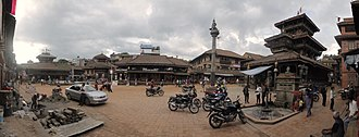 Bhaktapur - A panoramic view of the Dattatraya Temple and Surroundings.