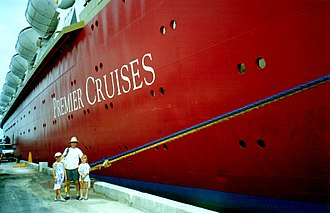 Premier Cruise Line - A family ready to embark on a Big Red Boat