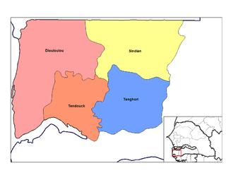 Tendouck Arrondissement - Image: Bignona arrondissements