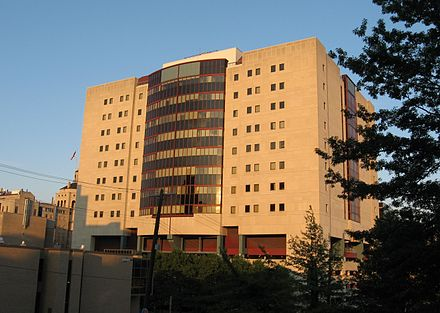 Thomas Starzl Biomedical Science Tower is connected to the med school and UPMC's flagship hospitals BioMedicalScienceTowerSouthPitt.jpg
