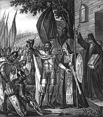 Blessing cross - Saint Sergius of Radonezh (right, holding Gospel Book) using a blessing cross to bless Grand Prince Saint Dmitri Donskoi in his battle to overthrow the Tartars in the Battle of Kulikovo (1380).