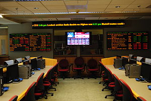 Samuel Curtis Johnson Graduate School of Management - The Boas Trading Room is used by students for training, for management of student-run funds, and for hosting the annual MBA Stock Pitch Challenge.
