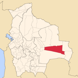 Location of Chiquitos Province within Bolivia