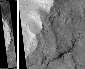 Chesley Bonestell - Bonestell Crater, as seen by HiRISE.  Scale bar is 1000 meters long.