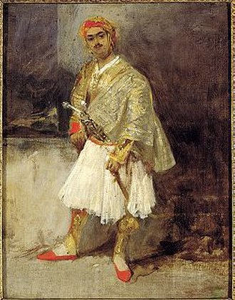 Greek War of Independence - Portrait of a Greek armatolos by Richard Parkes Bonington (oil painting, 1825–1826, Benaki Museum).