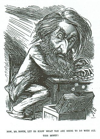 "William Booth - The Entr'acte cartoon of 1882 captioned, ""Now, Mr Booth, let us know what you are going to do with all this money!"""