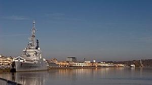 French cruiser Colbert (C611) - Colbert on the Garonne in Bordeaux.