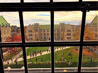 Students walk through a campus quadrangle. Boston College Quadrangle.jpg