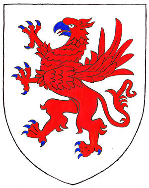 Manor of Molland - Arms of deBotreaux: Argent, a griffin segreant gules armed azure