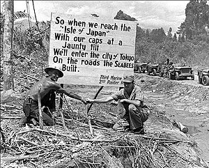 Seabee - 3rd Marine Division, 2nd Raider's sign on Bougainville. 53rd NCB was the shore party to the 2nd Raiders of Green Beach, D-Day (Seabee Museum).