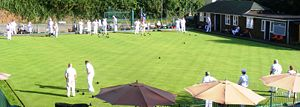 Bowls match in progress at Wookey Hole