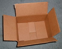 An empty corrugated box, made of corrugated fi...