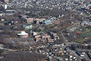 Brandeis University - Aerial view of campus in Waltham, MA