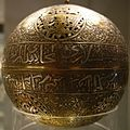 Brass incense burner inlaid with silver, 13th Century, Damascus.jpg