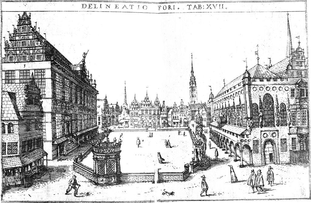 Marktplatz in Bremen mit Bremer Rathaus (rechts) und Bremer Roland. Dilich, 1603. Delineatio Fori