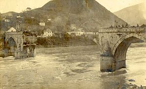 The Bridge on the Drina - The partially destroyed bridge, 1915