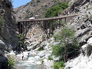"San Gabriel River (California) - East Fork at the famed ""Bridge to Nowhere"""