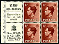 British 1936 KEVIII 1½d stamp booklet advertising pane.JPG