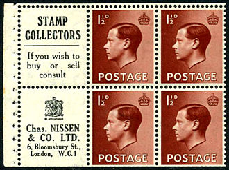 Edward VIII postage stamps - The British stamps in a booklet pane featuring advertising for stamp dealer Charles Nissen.