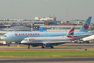 Wide-body aircraft - Size comparison between a British Airways Airbus A320 (narrow-body aircraft) and an Air Canada Boeing 777-300ER (wide-body aircraft)