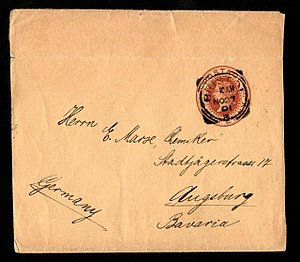 Wrapper (philately) - A folded British Queen Victoria one penny wrapper addressed to Augsburg, Bavaria with a Bristol squared-circle cancellation of 10.00 AM 27 November 1901, just five days after the Queen's death. It bears an Augsburg received mark on the back (not shown) dated 29 November showing the journey to have taken only two days.