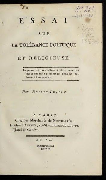 File:Brizey-Fradin - Essai sur la tolérance politique et religieuse.pdf