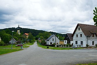 Brod nad Tichou - Center of the village with the Church of Saint James the Greater in the background