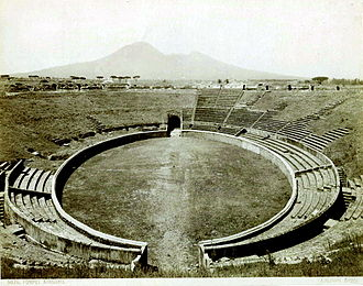 Roman amphitheatre - The Amphitheatre of Pompeii, one of the earliest known Roman amphitheatres, in the 1800s.