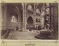 Budapest, Mátyás-templom, templombelső a Menyasszony-kapu felől nézve, jobbra a főszentély a királyi karzattal. -Fortepan 82544.jpg