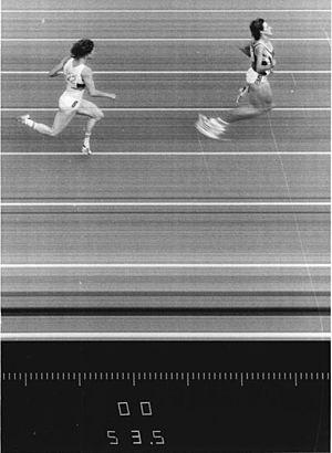Photo finish - 1987 400metre hurdles: Sabine Busch 53.24s, Cornelia Ullrich 53.55s