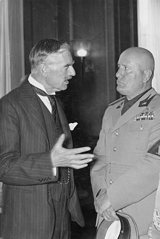 European foreign policy of the Chamberlain ministry - With Mussolini at the Munich Conference