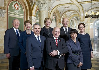 Ueli Maurer - Official Swiss Federal Council photo for 2013, the year Maurer was President. Maurer is the fourth person from the right.