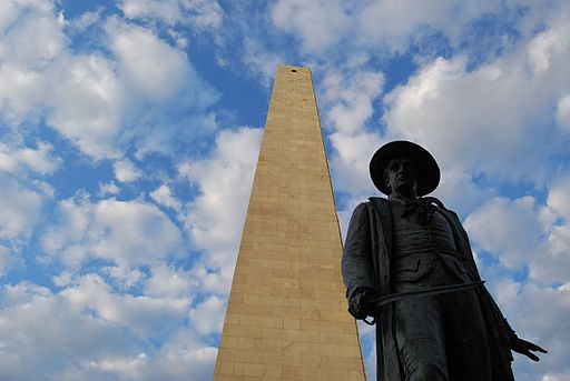 Bunker Hill Monument and Col. William Prescott statue