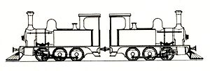 CGR 0-6-0T - Drawing of CGR 0-6-0T back-to-back locomotive pair