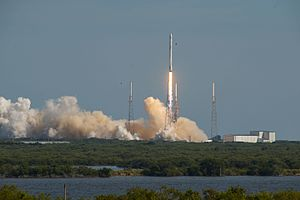 Falcon 9 booster B1021 - Image: CRS 8 liftoff (25709481274) (2)