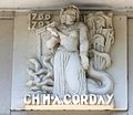 Caen hôtel Malherbe bas-relief Corday.JPG