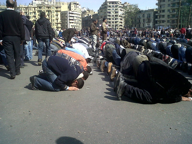 File:Cairo protestors in prayer - 1FEB2011.jpg