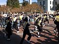 Cal Band runs onto Sproul for 2008 Big Game pregame rally.JPG