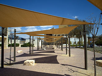 Jacob Blaustein Institutes for Desert Research - A shaded walkway on the campus.