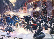 Snow-covered street fighting of British and Tory Provincials repulsing an American assault