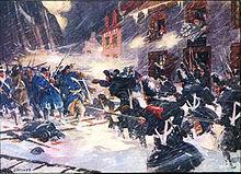 Schneebedeckte Straßenkämpfe von Briten und Tory Provincials, die einen amerikanischen Angriff abwehren