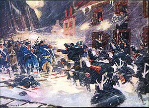 In this street battle scene, blue-coated American and British troops face each other in a blizzard. The high city walls are visible in the background to the left, and men fire from second-story windows of buildings lining the narrow lane. A body and scaling ladders lie in blood-stained snow in the foreground.
