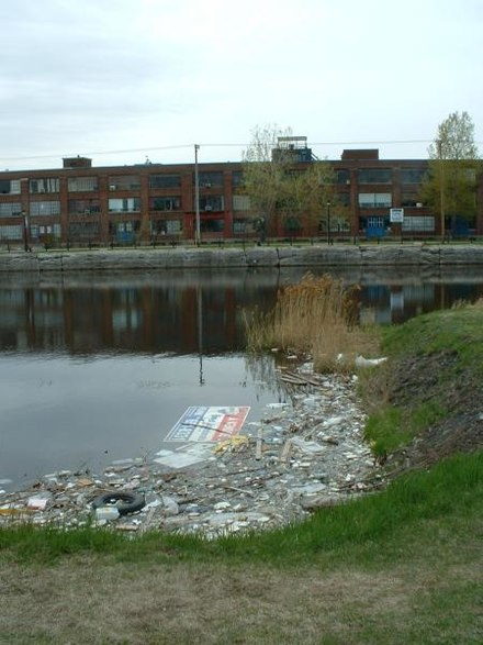 Pollution in the Lachine Canal, Canada