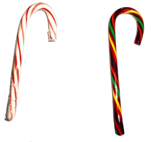Two candy canes, a traditional one (left) and ...