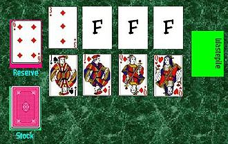 Canfield (solitaire) - The initial layout in the game of Canfield.