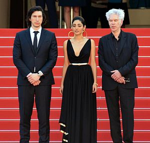 Paterson (film) - Adam Driver, Golshifteh Farahani and Jim Jarmusch at the 2016 Cannes Film Festival.