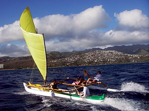 Outrigger canoe - Modern sailing outrigger canoe in Hawaii, US